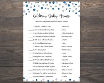 Navy and Silver, Baby shower games, Celebrity baby name game, Boy baby shower, Printable blue baby shower game, Celebrity baby names, S014