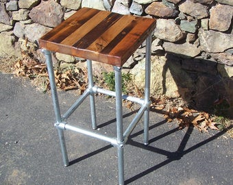 FREE SHIPPING - Brew Pub Industrial Pipe Bar Stools with Reclaimed Wood Seat - Great for restaurants, bars and cafes!