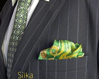 GREEN pocket square Hand painted SILK pocket square Valentines gift for him  silk pocket square gift for him  wedding pocket square