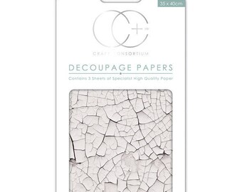 Paper patch (3 sheets) white crackled - Texture CCDECP0156