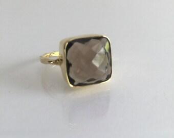 Statement Ring, smoky quartz , genuine quartz