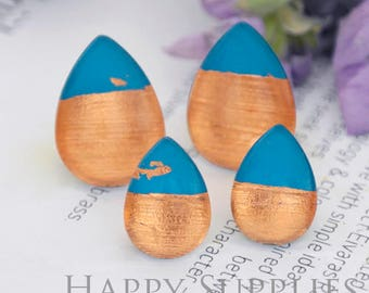 Handmade Gem Blue + Rose Gold Foil Teardrop Glass Cabochon (TFG14-R) 10x14mm / 13x18mm / 18x25mm