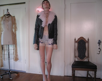 Vegan Faux Leather and Pink Fur Motorcycle Jacket