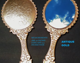 New Antique Gold Hand Held Mirrors, Gold Handheld Mirrors, Beauty and The Beast