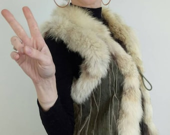 Real fur gilet. Real fox and opposum fur gilet doble face. Reversible fur vest or waistcoat. Boho style gilet. upcycled fur.Medium size.