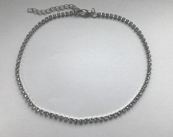 Full Crystal Simple elegant short One Row Choker Necklace