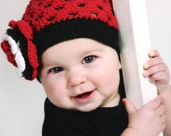 RTS 6-12 Month THE LADYBUG  Crocheted Beanie Hat  Red/Black/White Costume  Animal Theme