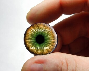 Glass Eyes - Brown Green Zombie Human Doll Eyes Handmade Glass Cabochons - Pair or Single - You Choose Size