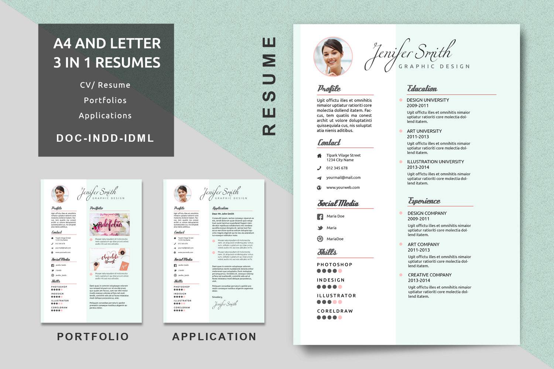 A4/Letter kreativer Lebenslauf Vorlagen moderne Lebenslauf