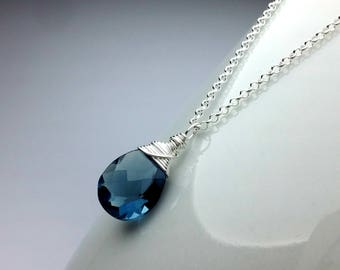 Quartz Necklace, Blue Gemstone Necklace Sterling Silver Crystal necklace for women Small Crystal Pendant Gift for Mothers Day Gift for Women