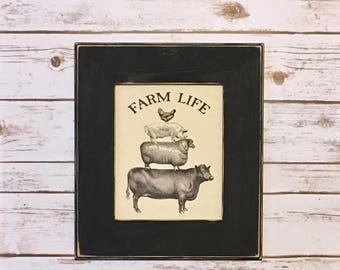 Farmhouse Decor,Farm Life,Cow Decor,Wood Framed Print,Country,Rustic Decor,Farm Sign