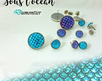 Mermaid / Mermaid earrings for children to screw or 10mm or 18mm stainless steel Butterfly resin green Screwback earrings