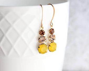 Yellow Earrings, Glass Jewel Earrings, yellow opal, light peach, light smoked topaz, Gold Brass Rhinestone Drop Vintage Glass Summer Fashion