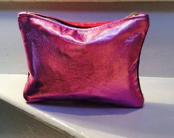 Hair on hide pink with metallic leather clutch or make up bag