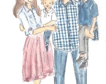 Custom Family Watercolor Illustration