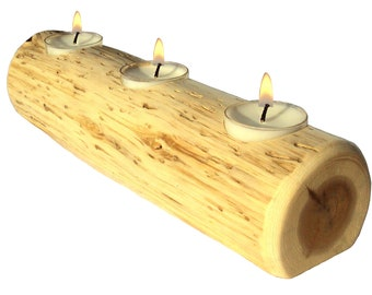 Cedar Log Candle, Log Candles, Rustic Centerpiece, Log Candle Holder