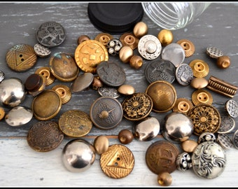 Jar of Vintage Metal Buttons - Button Lot - Vintage Buttons - Assorted Metal Buttons - Glass Jar
