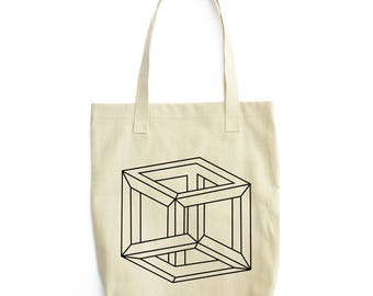 Mobius Cube optical illusion tote bag