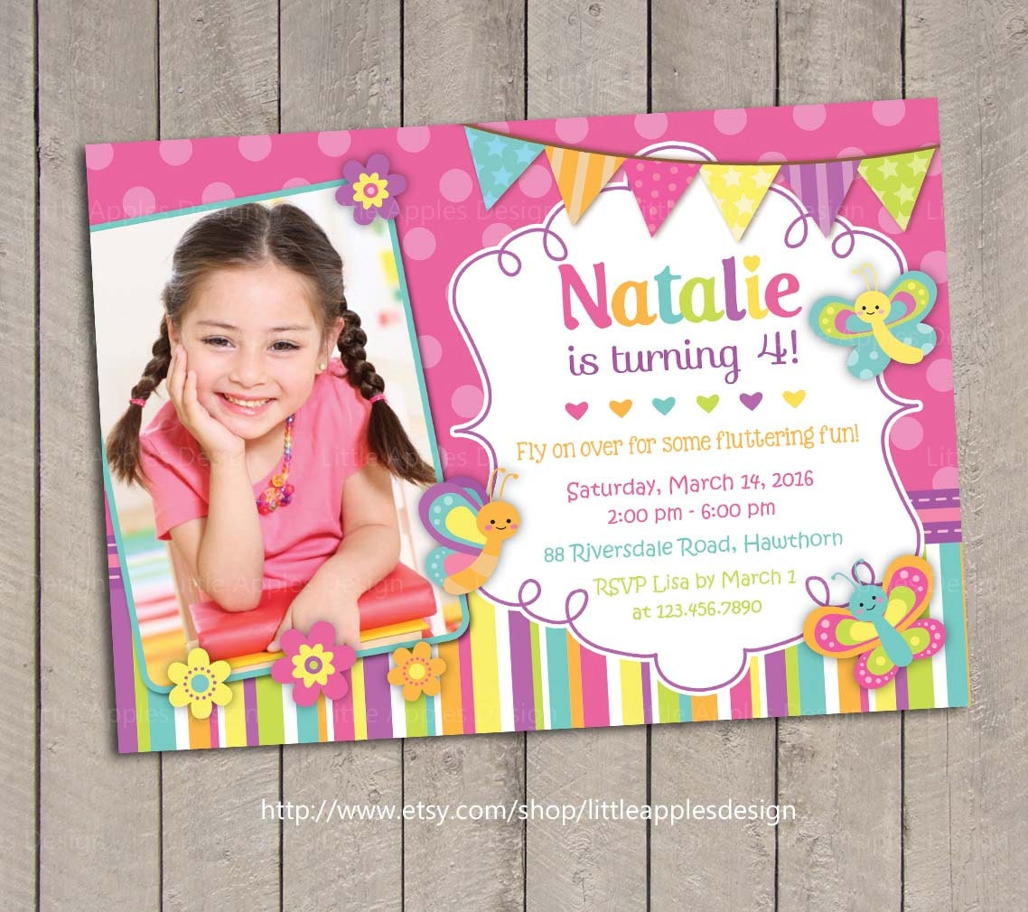 Butterfly Invitation / Butterfly Birthday Invitation /