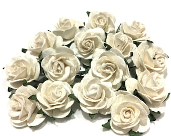 White Open Mulberry Paper Roses Or016