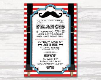 Little Man 1st Birthday, Stripes & Bowties Invitation, 1st Birthday Invitation, One, Bowties, Stripes, DIGITAL INVITATION