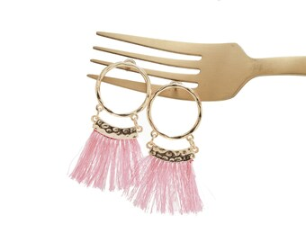 Gold Hoop Earrings with Dusty Rose Pink Threaded Tassel, Statement Earrings, Tassel Earrings, Gold Dangling Earrings, Gold Hoop Earrings,
