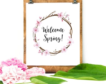 Welcome Spring Cherry Blossom Wreath Printable Wall Art Spring Decor Print Welcome Spring Print Watercolor Pink Cherry Blossom Wreath Print