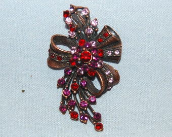 Large Rhinestone Brooch, Red Pink Amethyst, Vintage old jewelry
