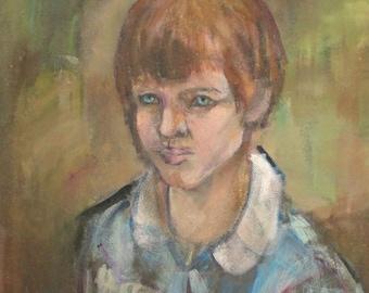 Expressionist oil painting portrait child