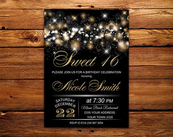 Sweet 16 invitation etsy sweet 16 invitation sweet sixteen birthday invite black and gold glitter 16th birthday invite sweet sixteen black and gold gold glitter stopboris Images