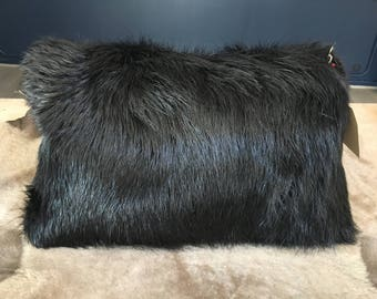 Beaver fur and leather cushion