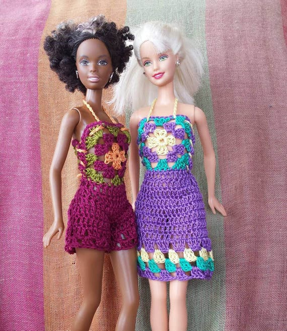 Barbie doll crochet pattern colorful granny square dress and romper ...