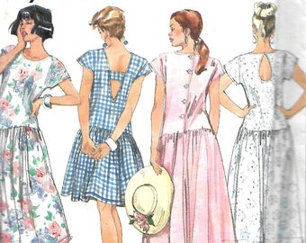 Simplicity 7905 Misses Dropped Waist Dress With Back Variations Sewing Pattern, Size 6-16, UNCUT