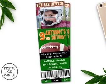 Football Birthday Invitations, Football Party Invitations, Football Party Invitation, Football Themed Party, Football Ticket, Printable