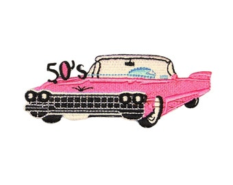 "ID 0130 Pink Cadillac de Ville Patch Retro ""50's"" Luxury Car Iron-On Applique"