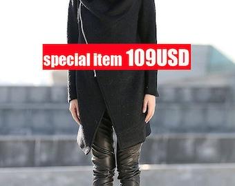 Sale, on sale, Winter coat, cowl neck coat, asymmetrical coat, winter coats, Black Winter Coat, women's winter coat, ladies coats C162-1