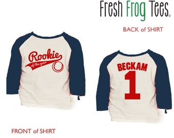 Rookie of the Year Birthday Baseball Shirt - 3/4 or long sleeve relaxed fit raglan baseball shirt - Any age and name - pick your colors!