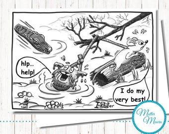 """Postcard """"Swamp"""", cartoon, Cat, mouse"""