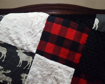 Moose Patchwork Blanket-Moose, Lodge Red Buffalo Check, Black Minky, and Ivory Crushed Minky Patchwork Blanket