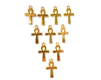 10 Antique Gold Ankh Charms, Jewelry Making - 30-6