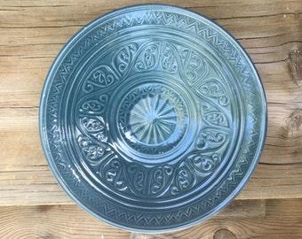 Hand Carved Ceramic Oribe Bowl
