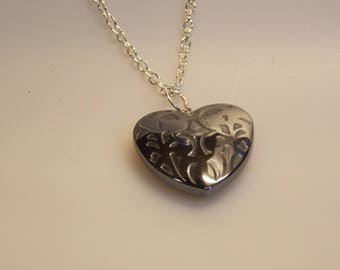 Hematite heart pendant on silver plated chain