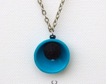 Lava stone necklace Lava rock diffuser Turquoise aroma necklace Pendant aromatherapy Diffuser necklace Protects from oil stains on clothes