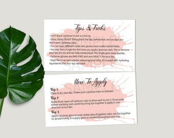 "Lipsense® Tips and Tricks, Business Card Size, LipSense® How To Apply, Application Senegence® Tips, pink splash, DIGITAL PRINTABLE 3.5x2"""