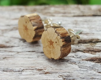Wood stud earrings Sterling silver studs Wooden rustic earthy mens studs minimalist tiny studs natural raw Unisex slice small studs