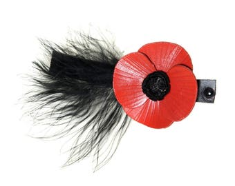 Leather poppy flower Barrette with feathers