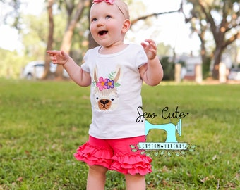 Llama- Llama Shirt- Embroidery Shirt- Zoo Animal- Animals- Flowers- Children Shirt- Cotton T-Shirt- Tees- Embroidery Tee- Theme Birthday
