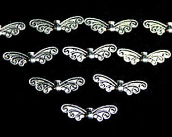 Metal Wing Beads, Butterfly, Angel, Scroll Wing, Beads, Antique Silver finish, Christmas, angel wings, butterfly wing beads, UK seller