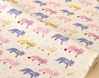 Japanese Fabric Kokka Animal World - chilly fox - natural, pink - 50cm
