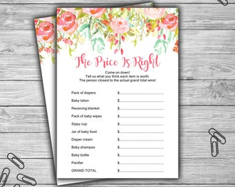 Floral - Pink - Baby Shower - The Price Is Right - Game - Cards - PRINTABLE - INSTANT DOWNLOAD - Guess The Price - Pink Baby Shower - 060